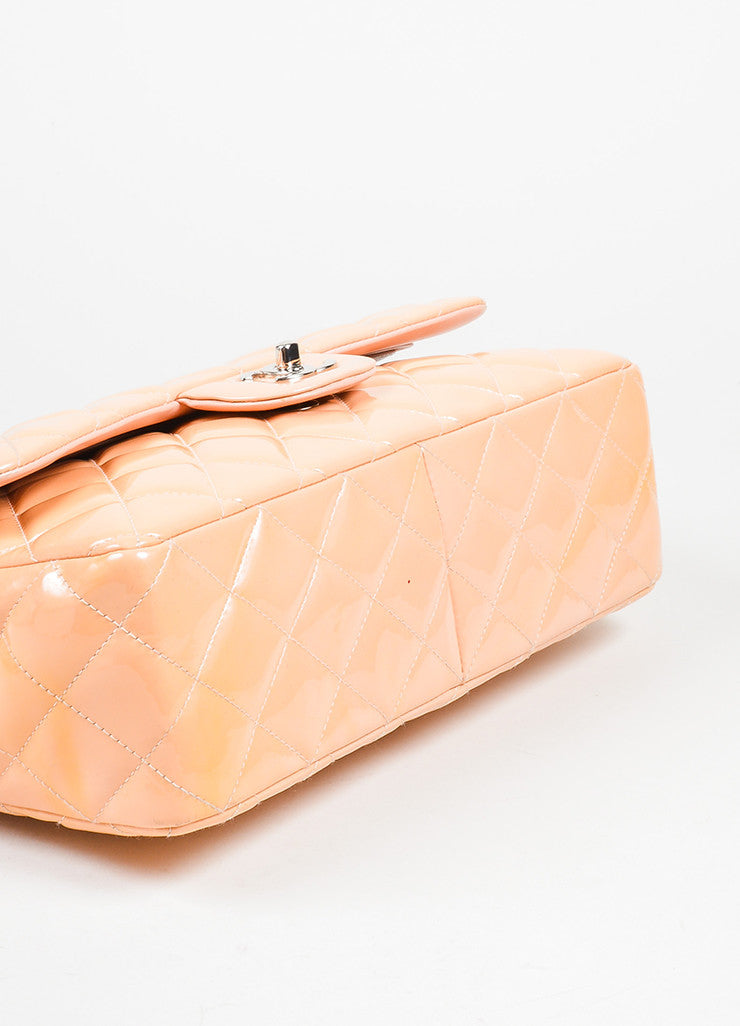 "Nude Chanel Patent Leather Quilted ""Classic Jumbo"" Double Flap Shoulder Bag Bottom View"