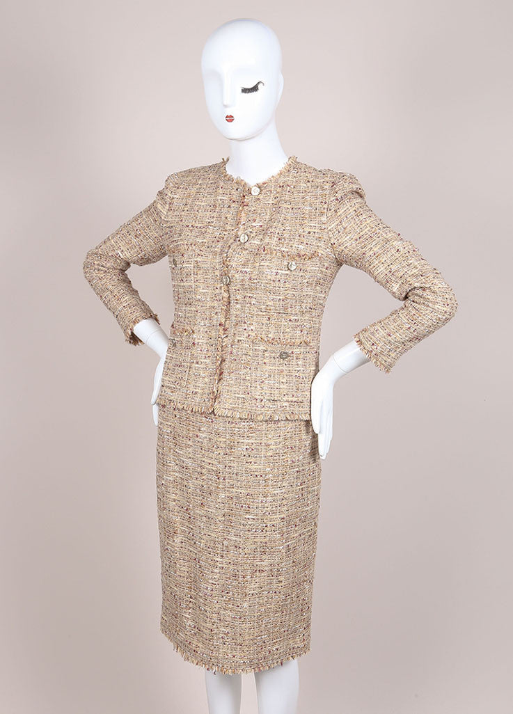 Chanel Tan and Multicolor Boucle Tweed Fringe Trim Skirt Suit Sideview
