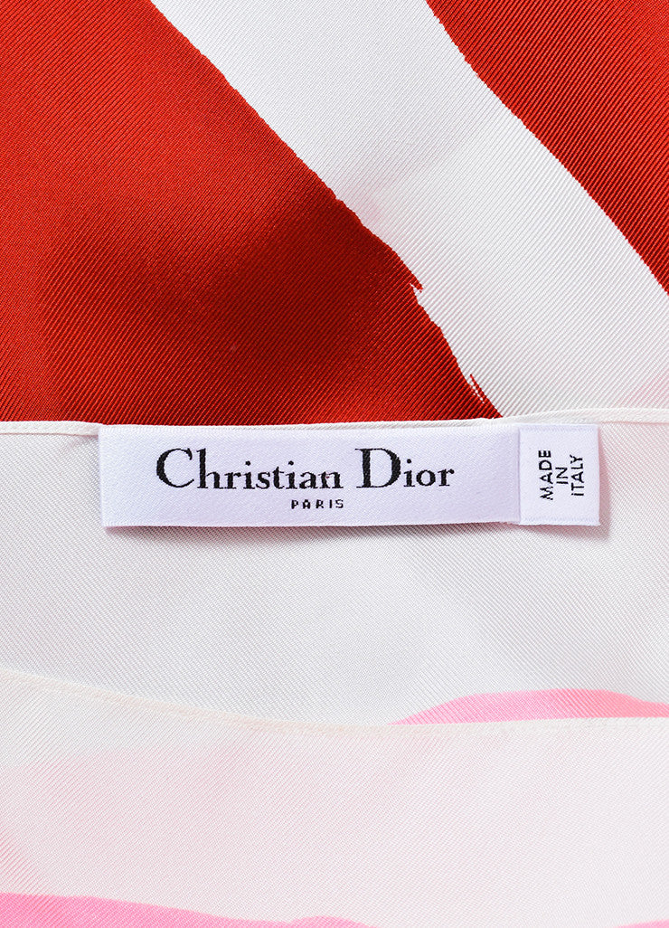 White and Multicolor Christian Dior Brush Print Silk Slit Tank Top Brand