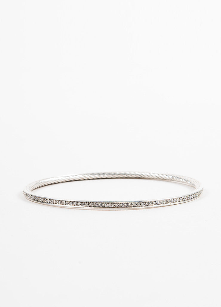 "David Yurman Sterling Silver and Diamond ""Cable Inside"" Bangle Bracelet Sideview"