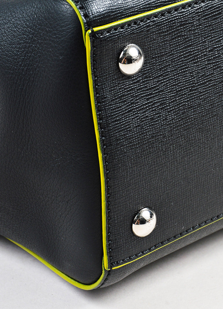 "Fendi Black and Green Leather Apple Charm ""Petite 2 Jours"" Tote Bag Detail"