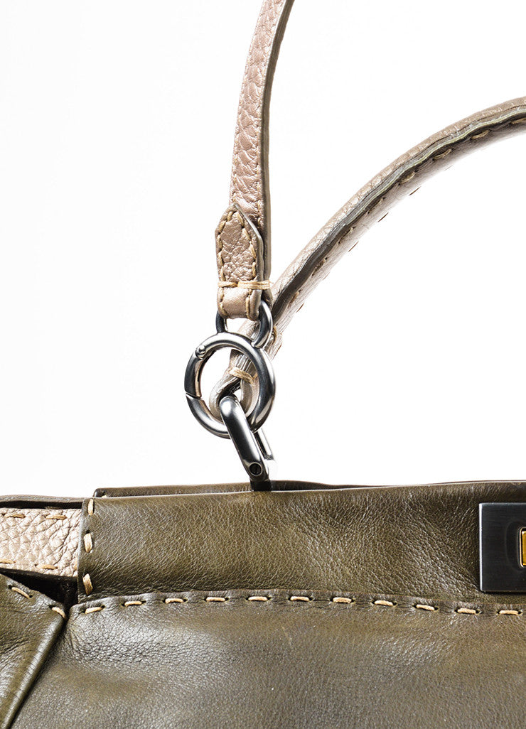 "Olive Green and Grey Leather Fendi Selleria ""Large Peekaboo"" Satchel Bag Detail 2"