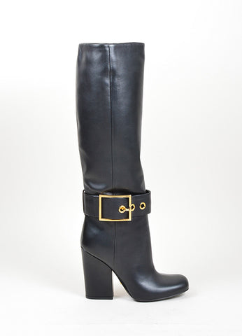 Black and Gold Toned Gucci Buckled Knee High Heeled Square Toe Boots Sideview