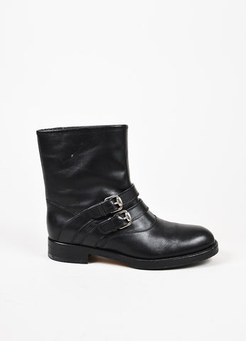 "Gucci Black Leather ""Margarett"" Shearling Lined Buckled Biker Boots Sideview"