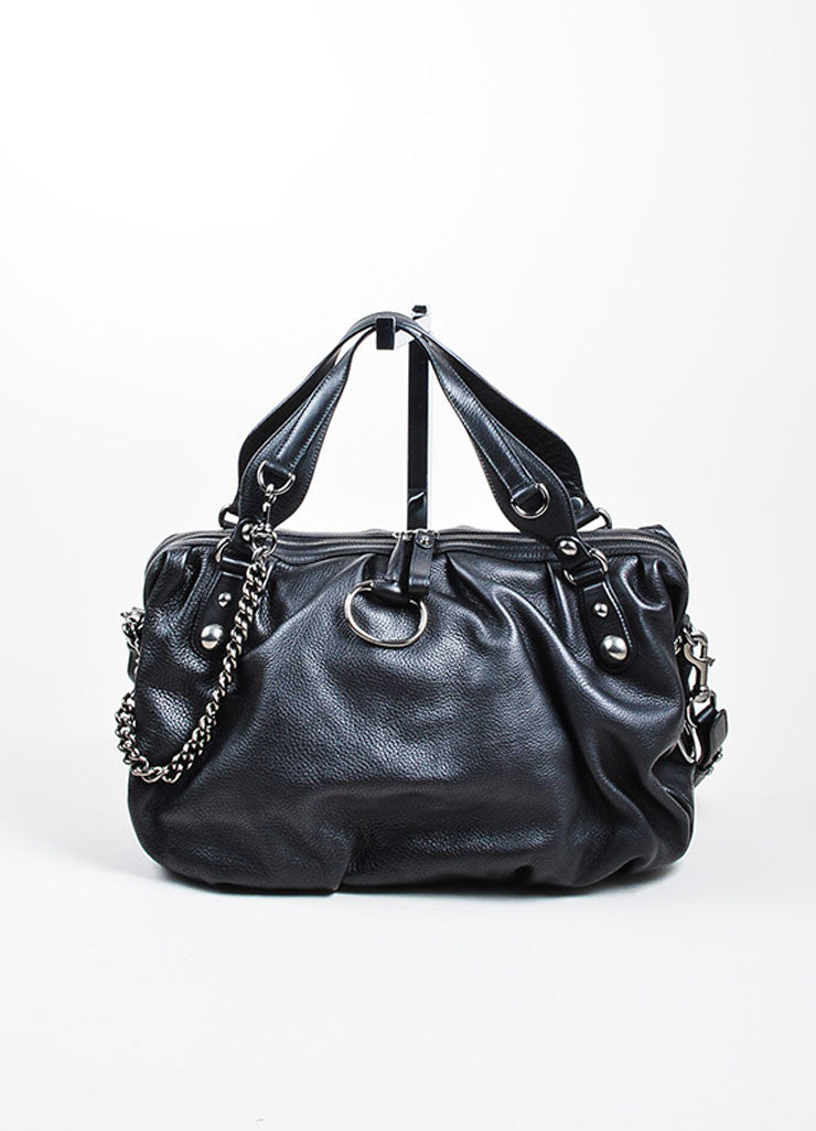"Black Leather and Silver Toned Chain Gucci ""Icon Bit Large Boston"" Duffle Purse Bag Frontview"
