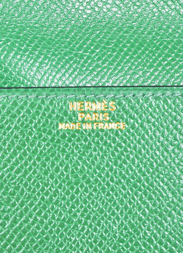 Green Hermes Leather Pouch Tie Snap Fanny Pack Small Belt Bag Brand