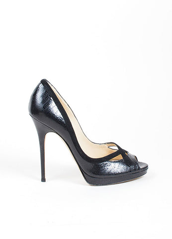 Black Jimmy Choo Lizard Embossed Suede Trim Peep Toe Heel Pumps Sideview