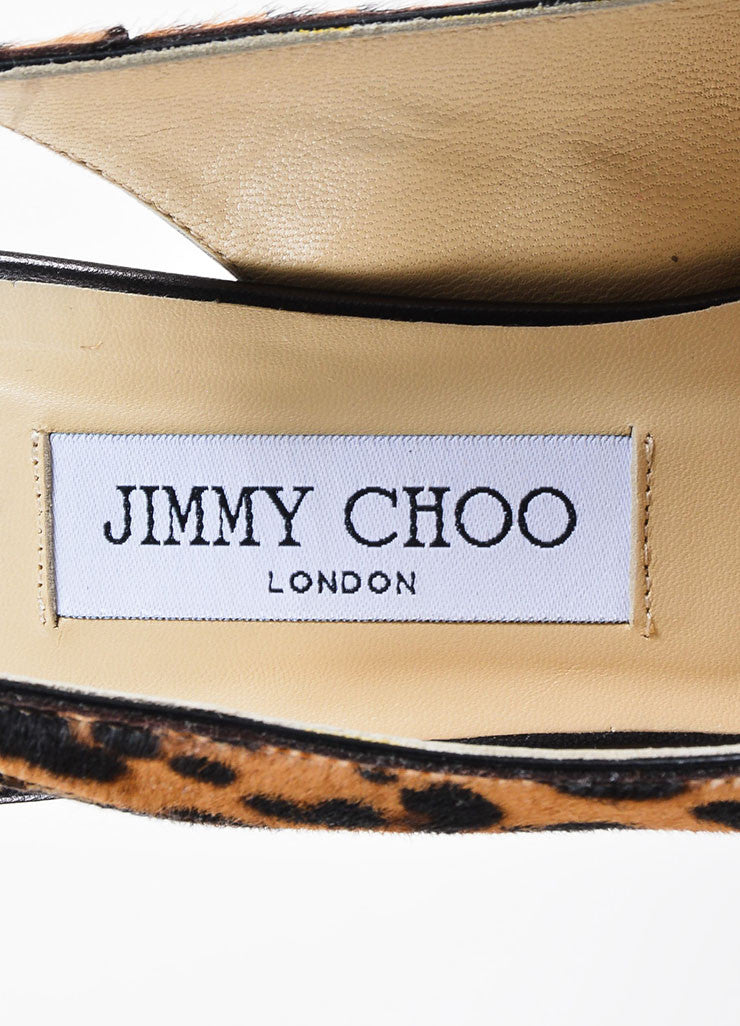 "Jimmy Choo Leopard Print Pony Hair Leather ""Shaw"" Slingback Pumps Brand"