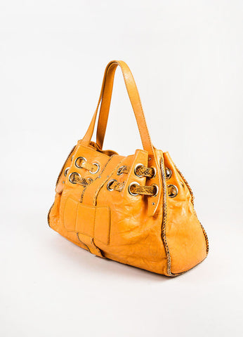 "Jimmy Choo Orange and Brown Leather Snakeskin Trim ""Ramona"" Satchel Bag Sideview"