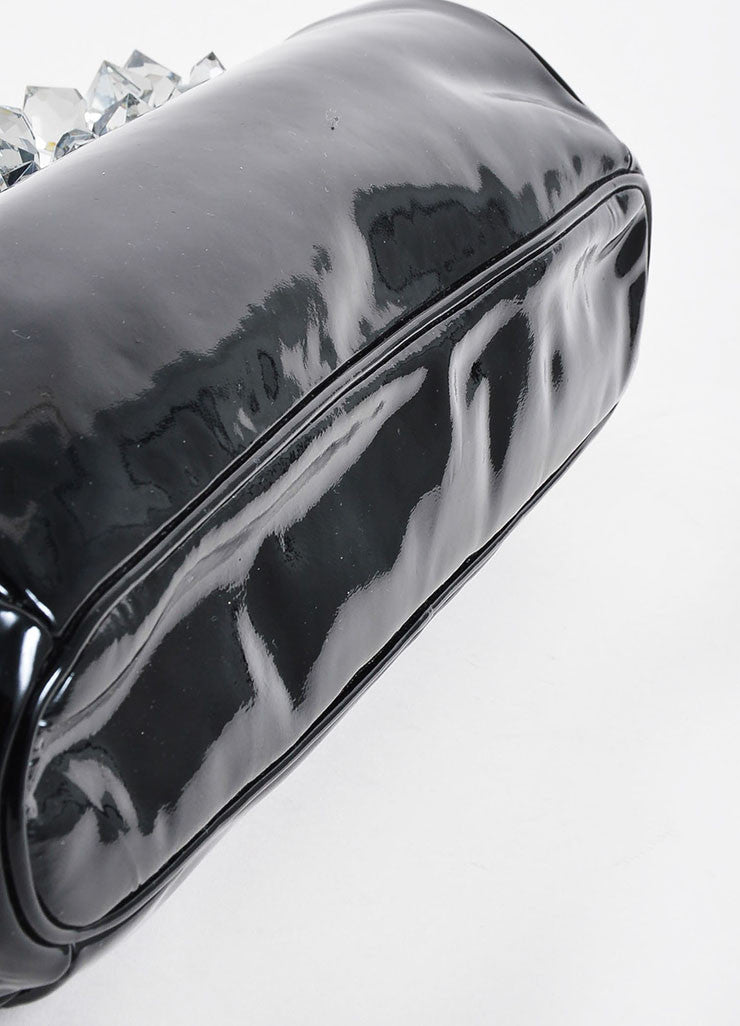 "Black and Grey Prada Patent Leather Crystal ""Vernice"" Clutch Bag Bottom View"