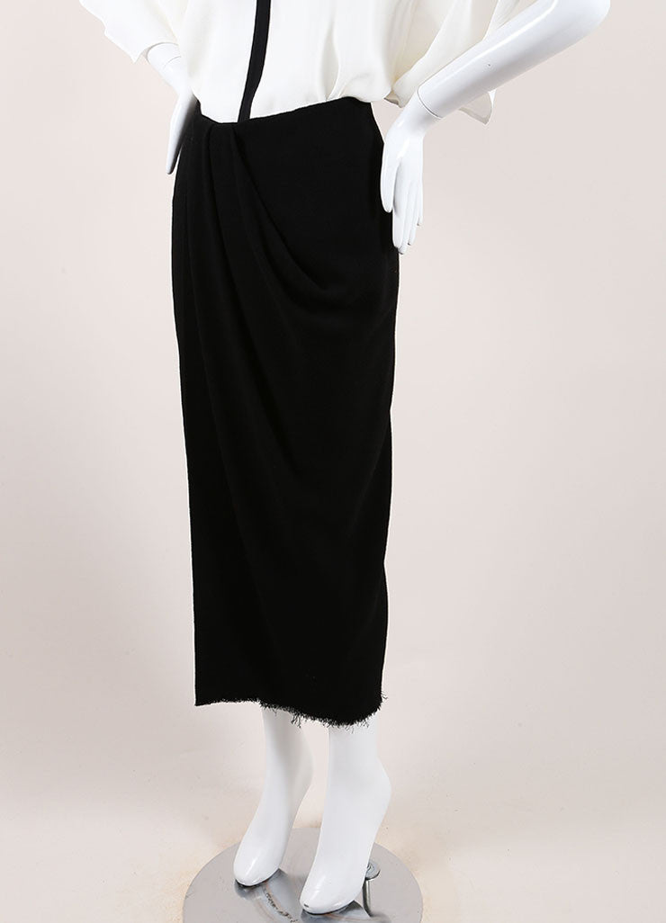 Lanvin New With Tags Black Wool Blend Fringe Hem Draped Long Skirt Sideview