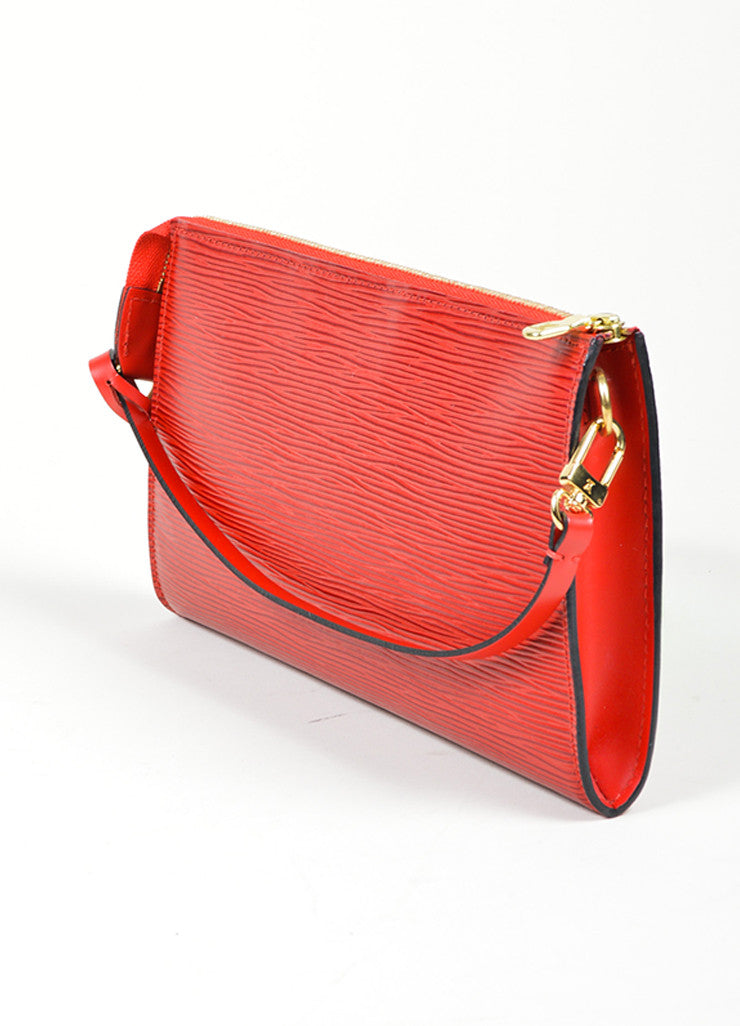"Red Louis Vuitton Epi Leather ""Pochette"" Small Handbag Sideview"
