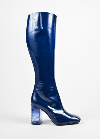 Navy Blue Nicholas Kirkwood Patent Leather Carnaby Knee High Boots Side
