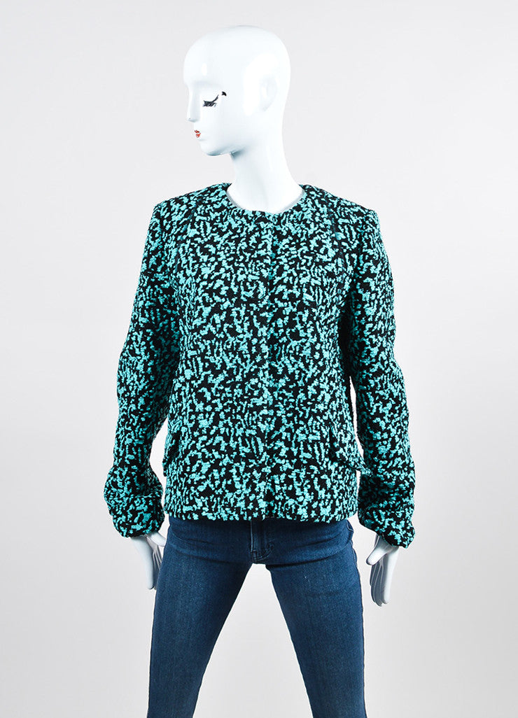 Teal and Black Proenza Schouler Boucle Jacquard Snap Front Jacket Frontview 2