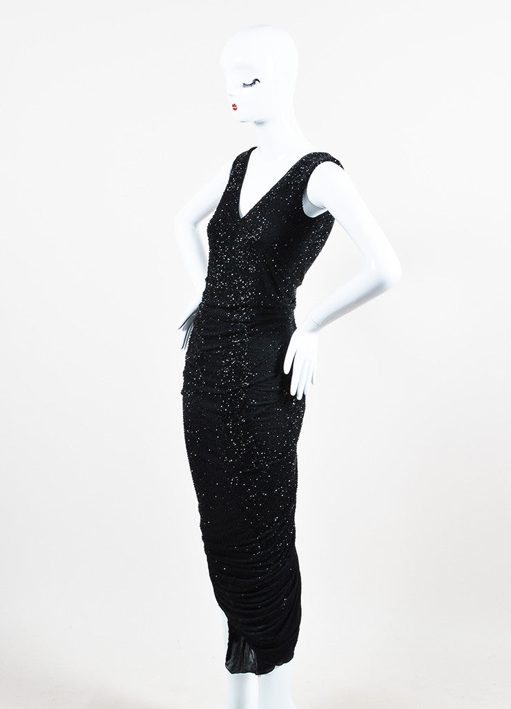 Ralph Lauren Collection Black Beaded Ruched Sleeveless Gown Sideview
