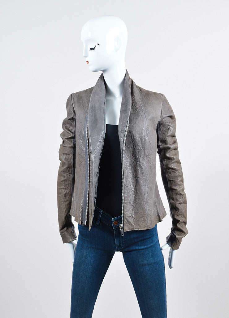 Grey Rick Owens Distressed Leather Wool Paneled Jacket Frontview