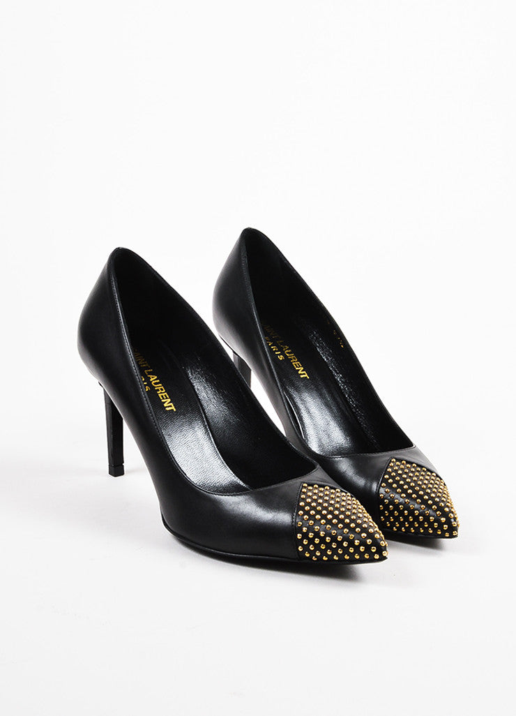 Black and Gold Toned Saint Laurent Leather Tiny Stud Pointed Pumps Frontview