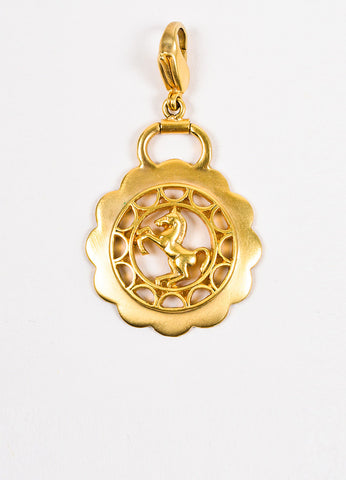 Hermes Brushed Gold Toned Laser Cut Horse Scalloped Charm Pendant frontview