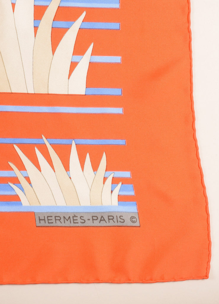 Hermes Orange and Blue Tiger Print Silk Scarf Brand