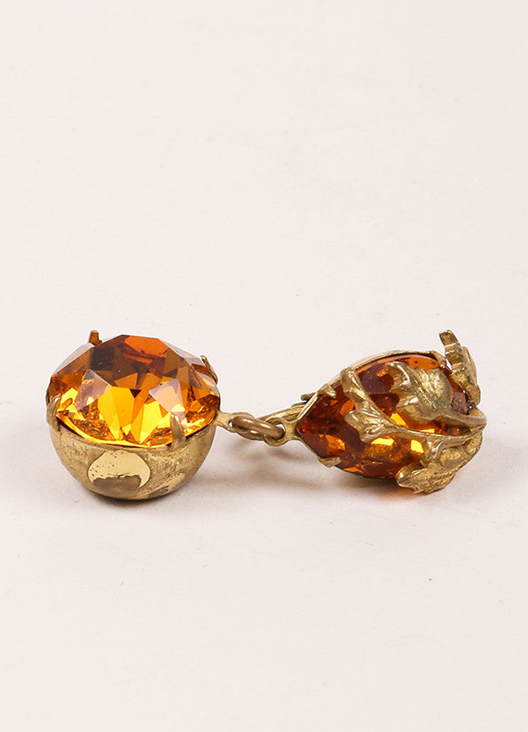 Miriam Haskell Orange and Gold Toned Leaf Rhinestone Dangle Earrings Sideview