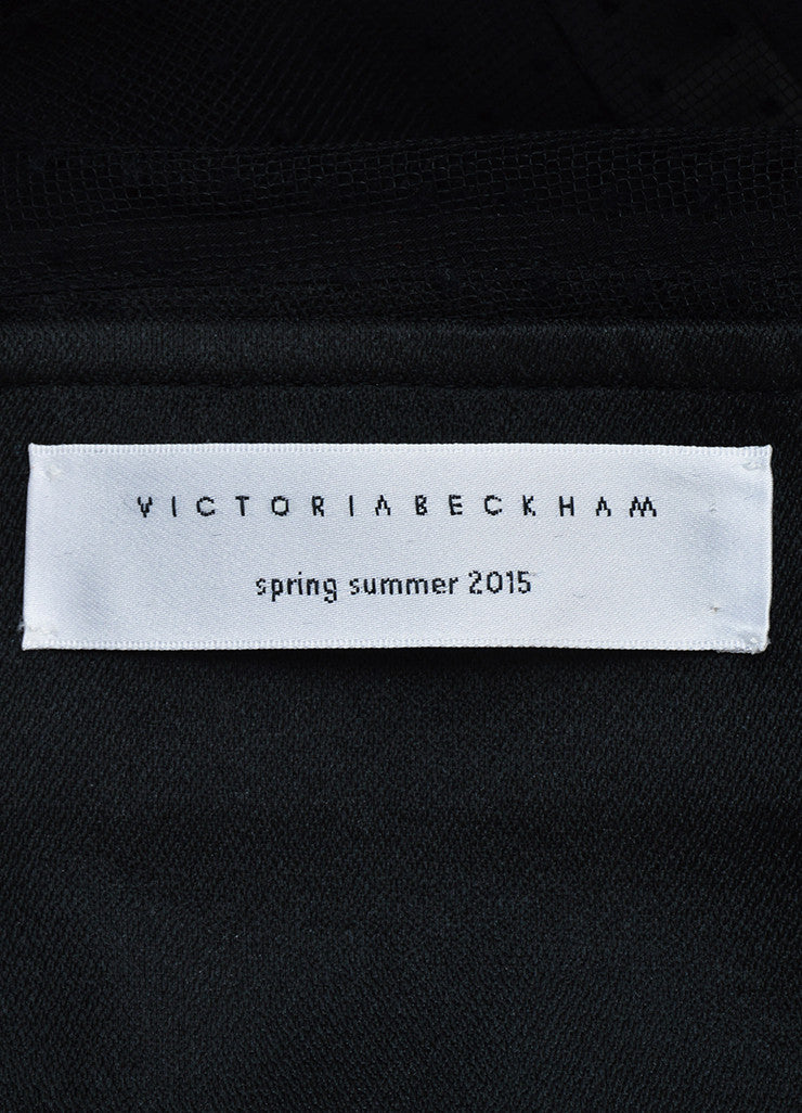 Victoria Beckham Black Crepe Sheer Yoke Fitted Sleeveless Cocktail Dress Brand