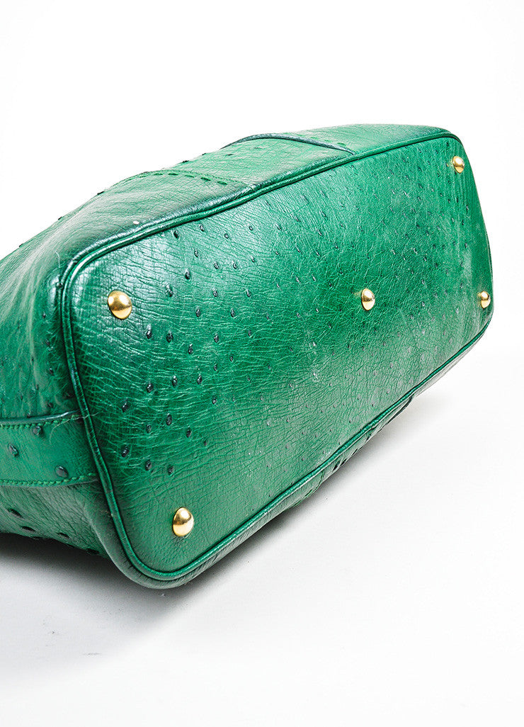 "Green and Gold Toned Yves Saint Laurent Ostrich Limited Edition ""Muse"" Bag Bottom View"