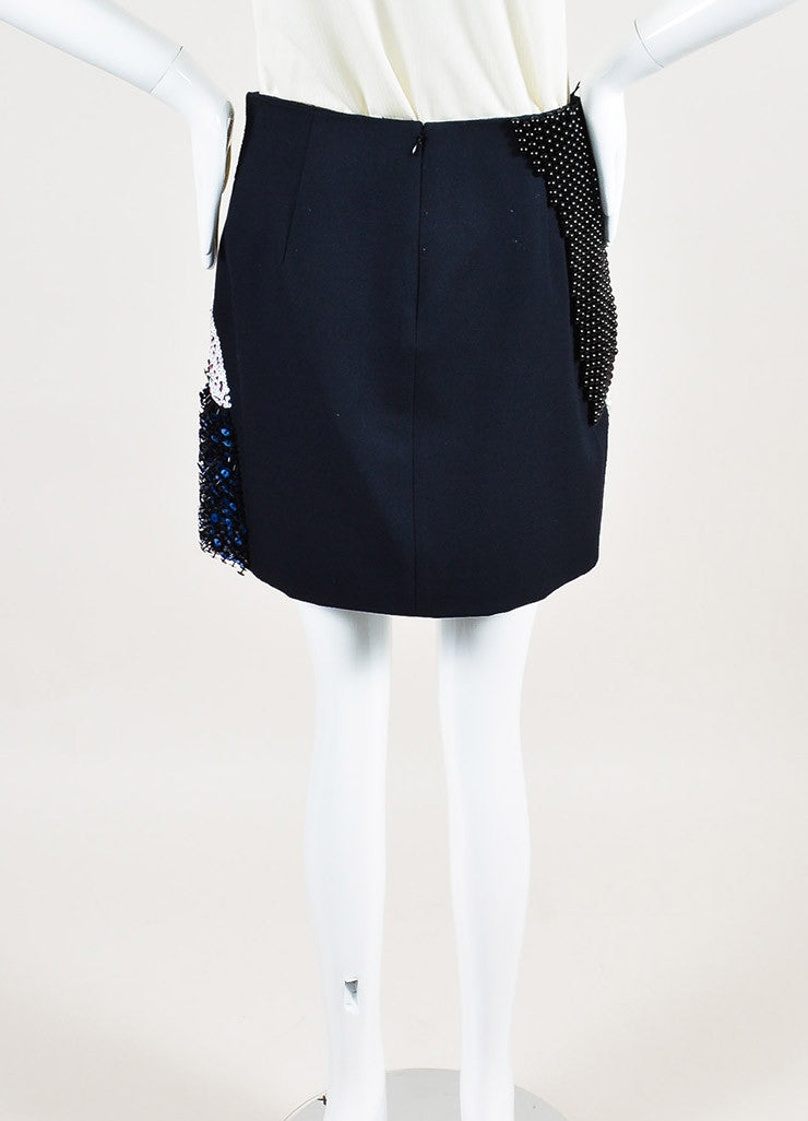 3.1 Phillip Lim Black and Multicolor Wool Sequin Beaded Mini Skirt Backview