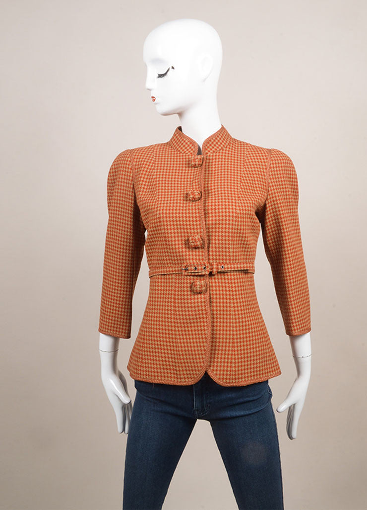 Andrew Gn New With Tags Tan and Red Wool Houndstooth Belted Crop Sleeve Jacket Frontview