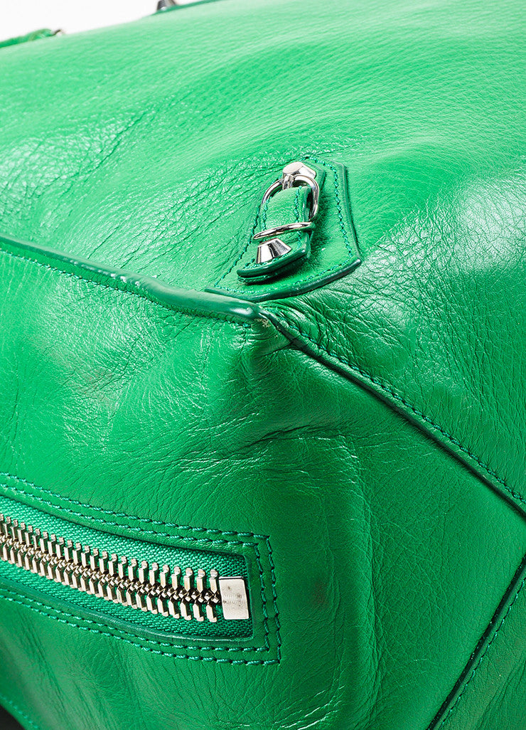 "Balenciaga Green Leather Silver Hardware ""Papier A5 Zip Around"" Tote Bag Detail"