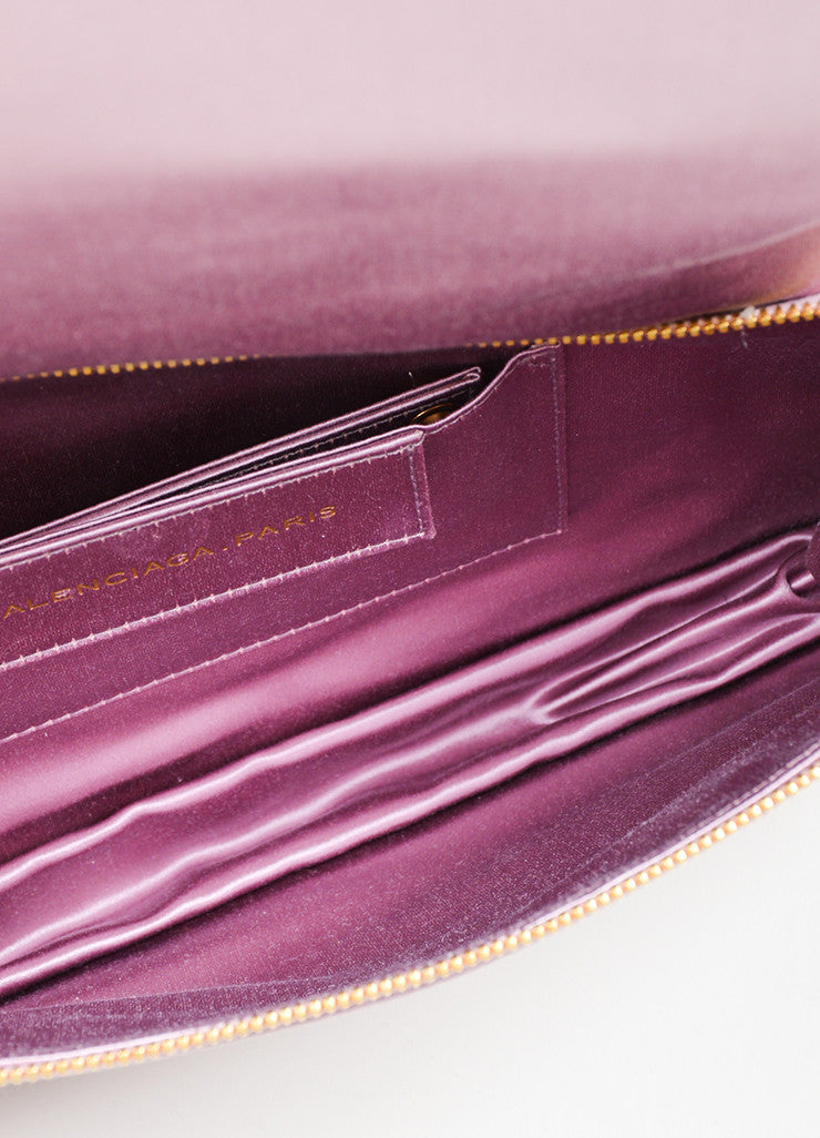 Pink Balenciaga Satin Moto Flap Clutch Bag Interior