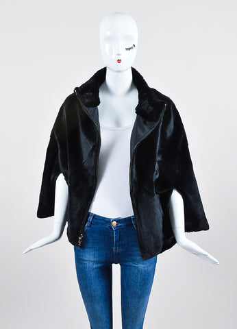 Black Beaver Fur Reversible Zippered Cape Jacket