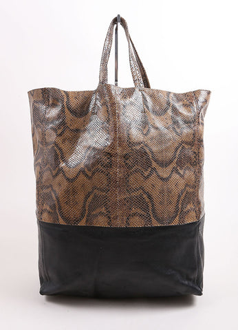 "Celine Brown and Black Embossed Snakeskin Leather ""Vertical B-Cabas"" Tote Bag Frontview"