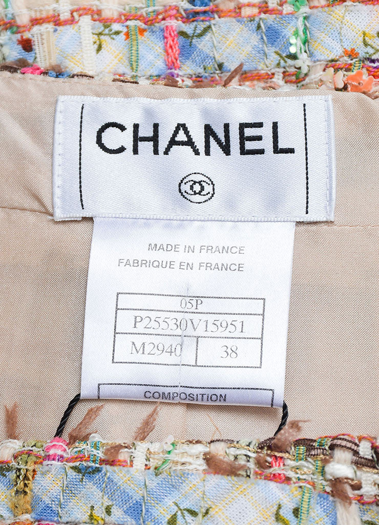 Multicolor Chanel Fantasy Tweed Floral Sequin Straight Skirt Brand