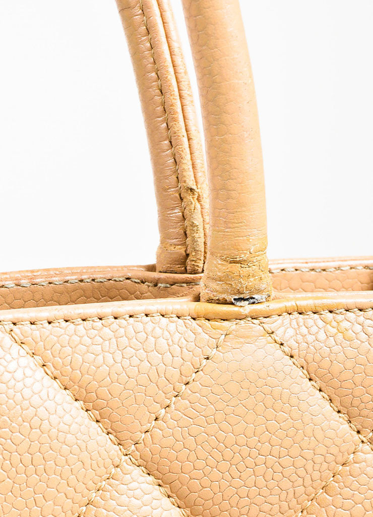 "Chanel Beige Quilted Caviar Leather 'CC' Logo ""Medallion Tote"" Bag Detail 5"