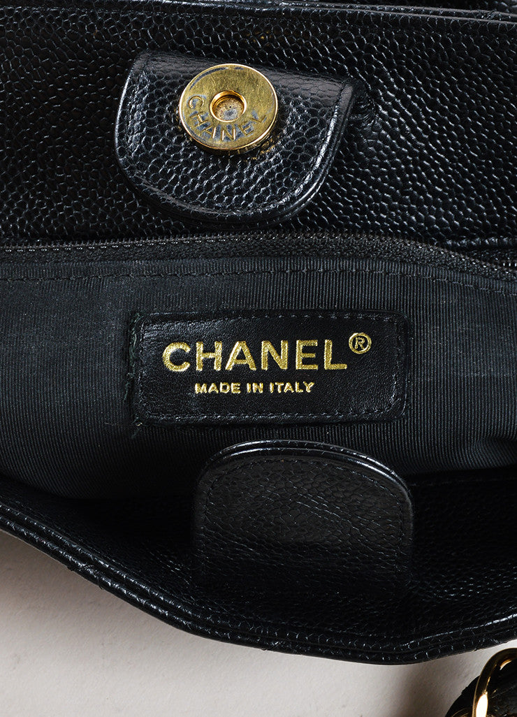 "Chanel Black Caviar Leather ""CC"" ""Petite Shopper"" Chain Strap Tote Bag Brand"
