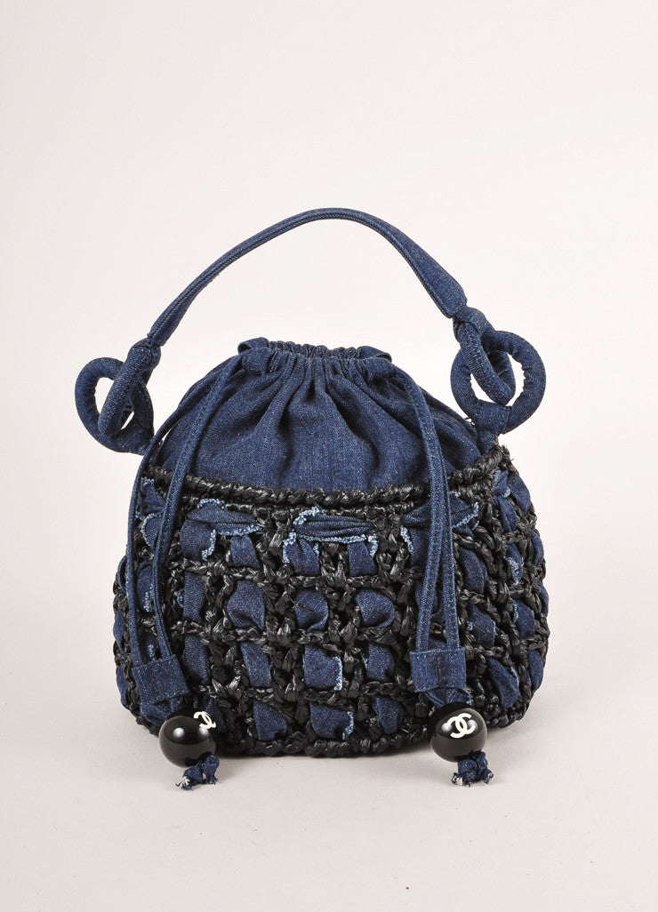 Chanel Dark Blue Denim and Raffia Basketwoven Small Drawstring Bucket Handbag Frontview