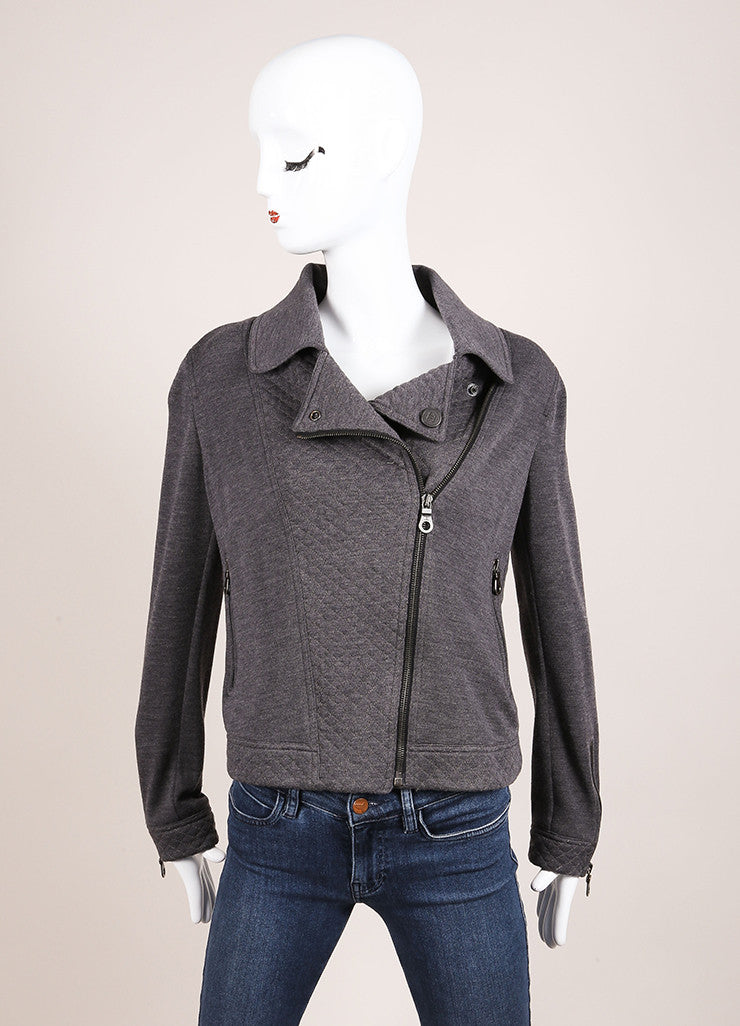 Chanel Grey Wool Moto Zip Up Jacket Frontview