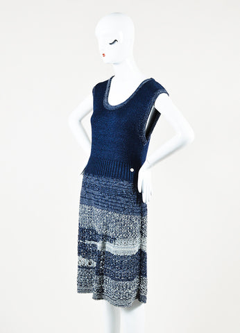 Chanel Navy and Metallic Grey Crochet Knit Sleeveless Marled Dress Sideview