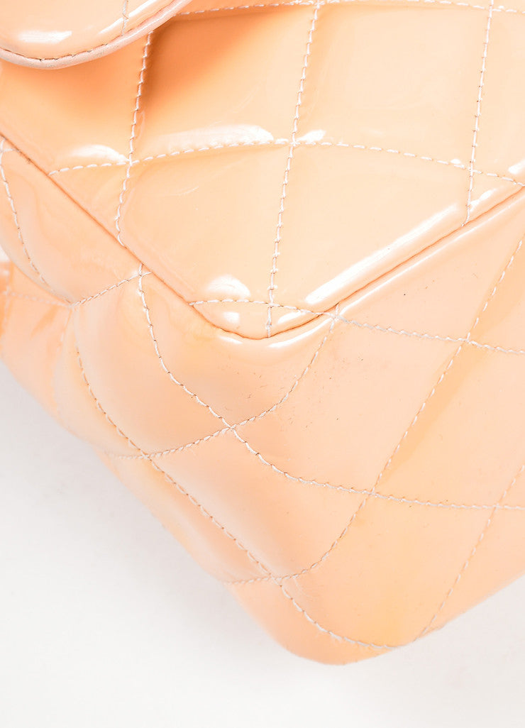 "Nude Chanel Patent Leather Quilted ""Classic Jumbo"" Double Flap Shoulder Bag Detail"