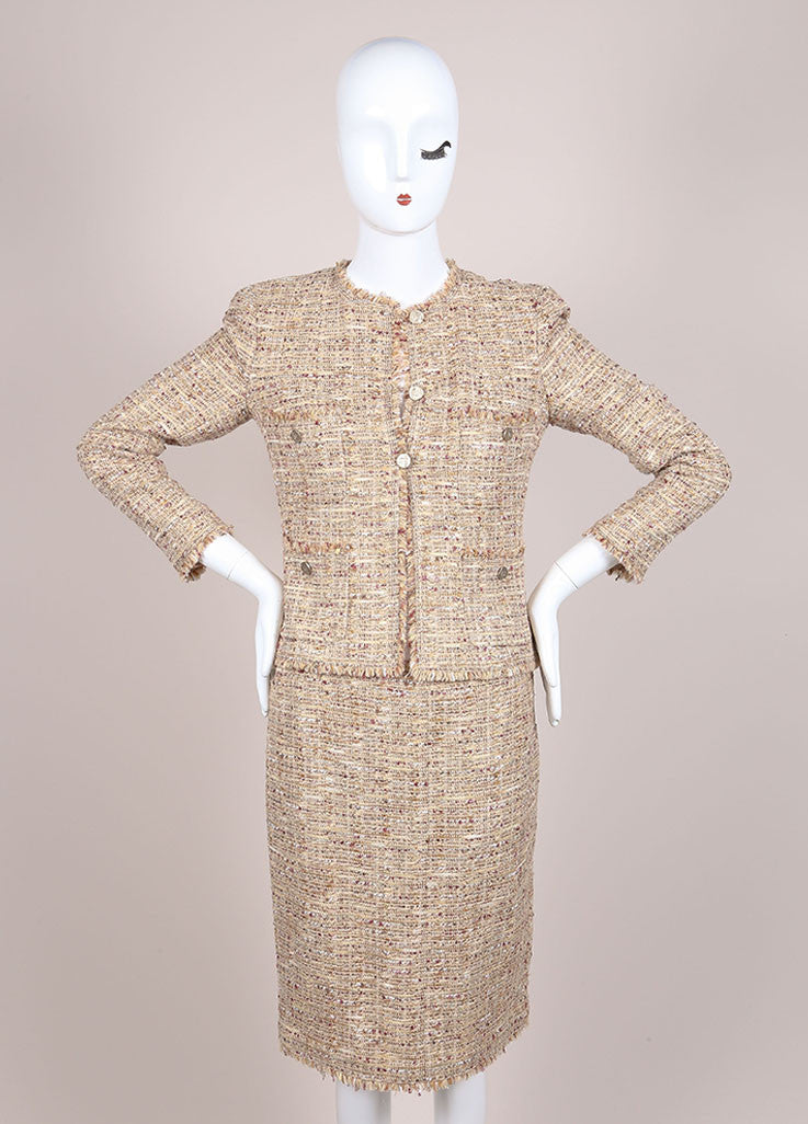 Chanel Tan and Multicolor Boucle Tweed Fringe Trim Skirt Suit Frontview
