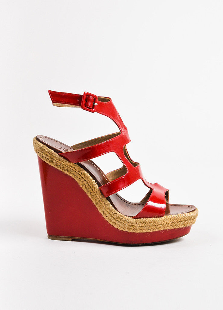 "Christian Louboutin Red Patent Leather ""Salamanca 120"" Espadrille Wedges Sideview"