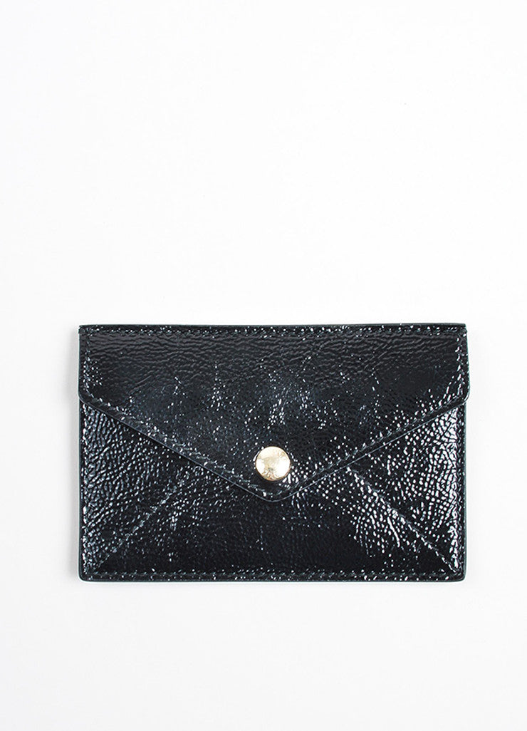 "Gucci ""Soho"" Black Patent Leather Textured Card Case Frontview"