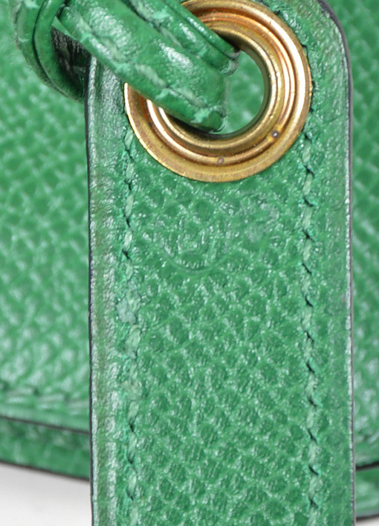Green Hermes Leather Pouch Tie Snap Fanny Pack Small Belt Bag Detail 2