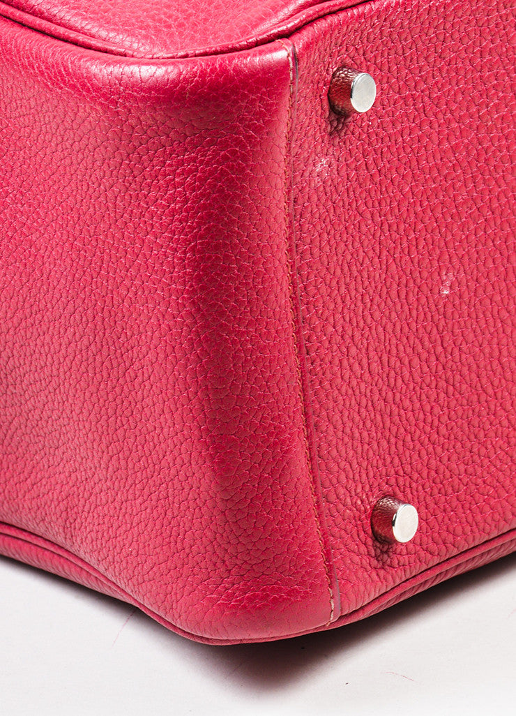 "Hermes Rouge Red Clemence Leather Zip Turn Lock ""Lindy 30"" Satchel Bag Detail"