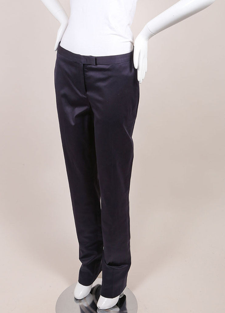 "Jil Sander New With Tags Navy Sateen Cotton Straight Leg ""Daniel"" Trousers  Sideview"
