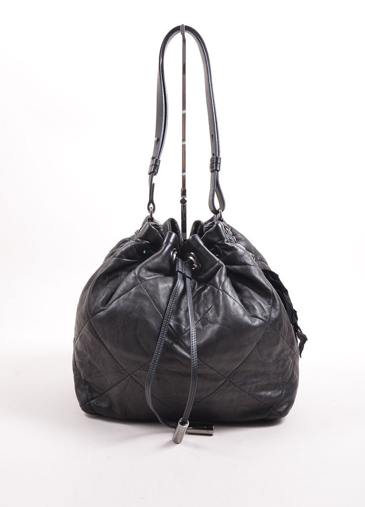 "Lanvin Black Quilted Leather ""Amalia"" Bucket Bag Front"