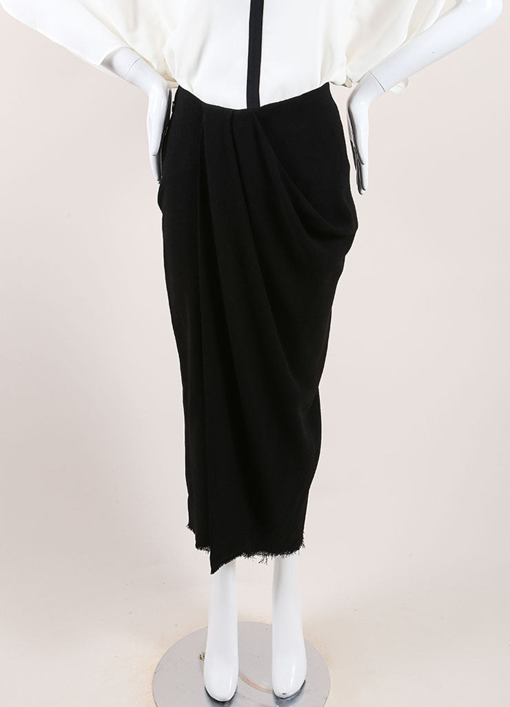 Lanvin New With Tags Black Wool Blend Fringe Hem Draped Long Skirt Frontview