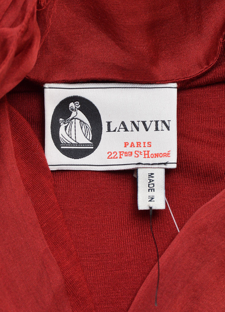 Red Lanvin Silk Sleeveless Tie Belted Sack Dress Brand