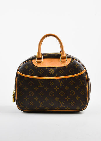 "Brown Louis Vuitton Monogram Coated Canvas ""Trouville"" Bag Front"