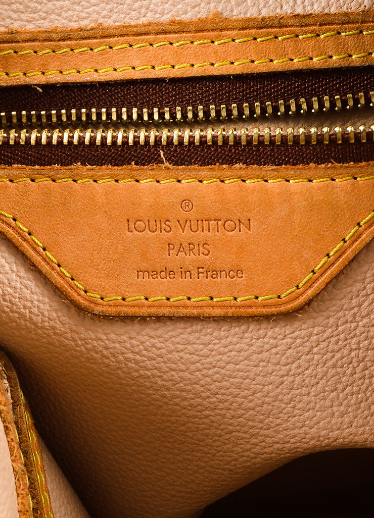 "Brown Louis Vuitton Coated Monogram Canvas Leather ""Petit Bucket"" Bag Brand"